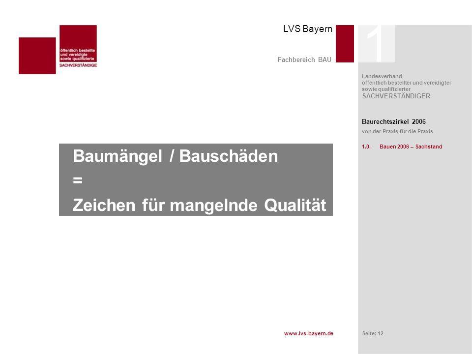 www.lvs-bayern.de LVS Bayern Landesverband öffentlich bestellter und vereidigter sowie qualifizierter SACHVERSTÄNDIGER Seite: 12 Baumängel / Bauschäde