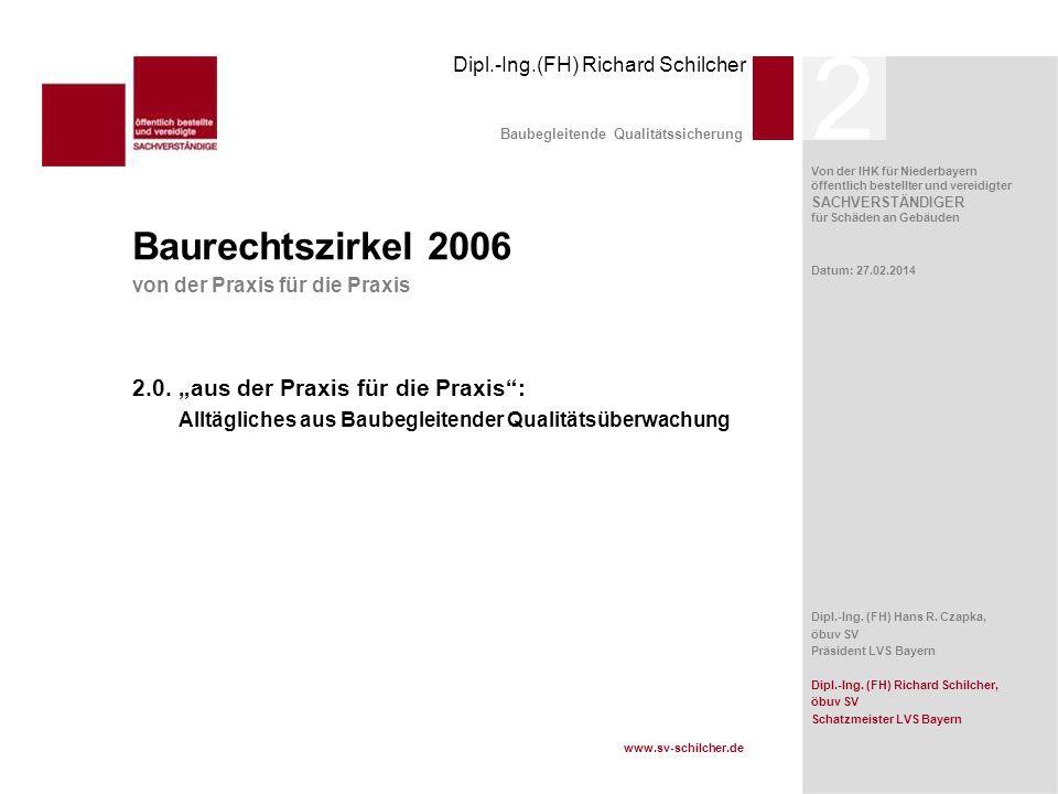 Von der IHK für Niederbayern öffentlich bestellter und vereidigter SACHVERSTÄNDIGER für Schäden an Gebäuden Dipl.-Ing.(FH) Richard Schilcher www.sv-sc
