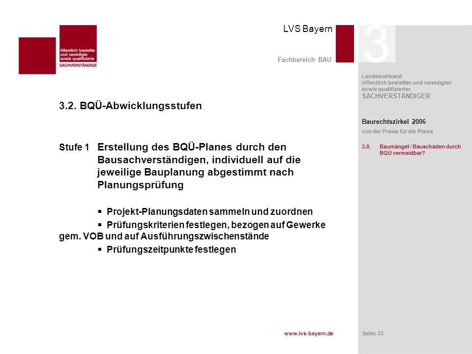 www.lvs-bayern.de LVS Bayern Landesverband öffentlich bestellter und vereidigter sowie qualifizierter SACHVERSTÄNDIGER Seite: 33 Fachbereich BAU 3.2.