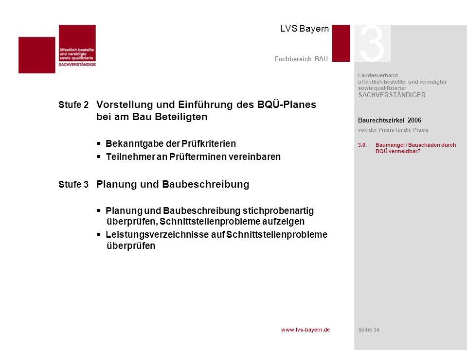 www.lvs-bayern.de LVS Bayern Landesverband öffentlich bestellter und vereidigter sowie qualifizierter SACHVERSTÄNDIGER Seite: 34 Fachbereich BAU Stufe