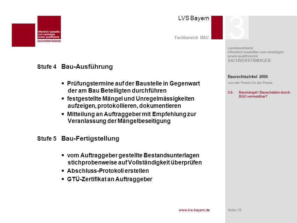 www.lvs-bayern.de LVS Bayern Landesverband öffentlich bestellter und vereidigter sowie qualifizierter SACHVERSTÄNDIGER Seite: 35 Fachbereich BAU Stufe