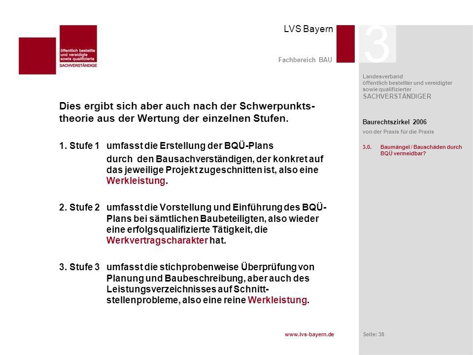 www.lvs-bayern.de LVS Bayern Landesverband öffentlich bestellter und vereidigter sowie qualifizierter SACHVERSTÄNDIGER Seite: 38 Fachbereich BAU Dies