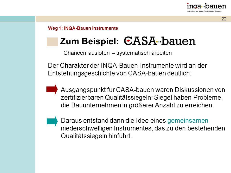22 Chancen ausloten – systematisch arbeiten Der Charakter der INQA-Bauen-Instrumente wird an der Entstehungsgeschichte von CASA-bauen deutlich: Ausgangspunkt für CASA-bauen waren Diskussionen von zertifizierbaren Qualitätssiegeln: Siegel haben Probleme, die Bauunternehmen in größerer Anzahl zu erreichen.