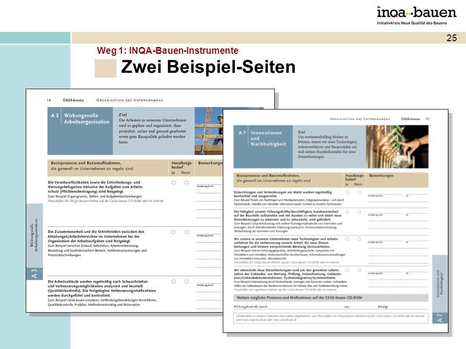 25 Zwei Beispiel-Seiten Weg 1: INQA-Bauen-Instrumente