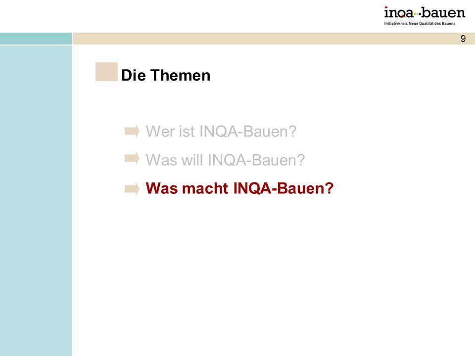 9 Wer ist INQA-Bauen? Was will INQA-Bauen? Was macht INQA-Bauen? Die Themen