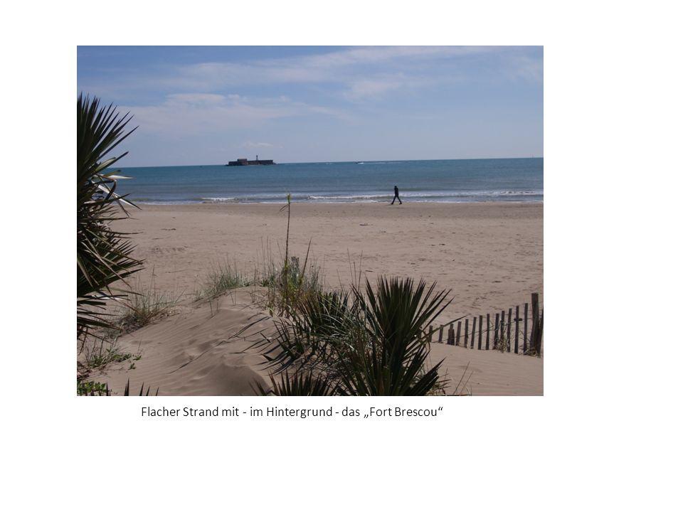 Flacher Strand mit - im Hintergrund - das Fort Brescou