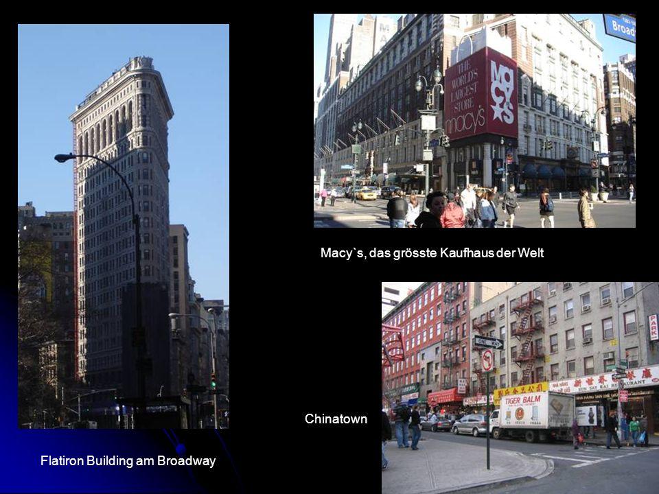 Flatiron Building am Broadway Macy`s, das grösste Kaufhaus der Welt Chinatown