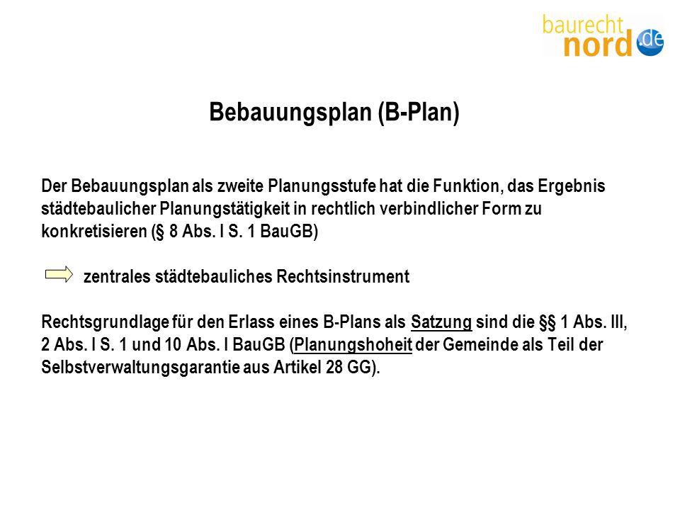 Festsetzungen des Bebauungsplans Beispiele Art der baul.