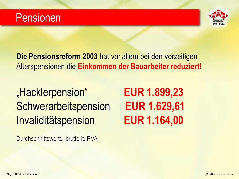 Die Pensionsreform 2003 hat vor allem bei den vorzeitigen Alterspensionen die Einkommen der Bauarbeiter reduziert! Hacklerpension EUR 1.899,23 Schwera