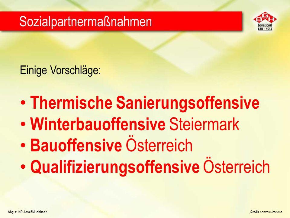 Einige Vorschläge: Thermische Sanierungsoffensive Winterbauoffensive Steiermark Bauoffensive Österreich Qualifizierungsoffensive Österreich Sozialpartnermaßnahmen Abg.
