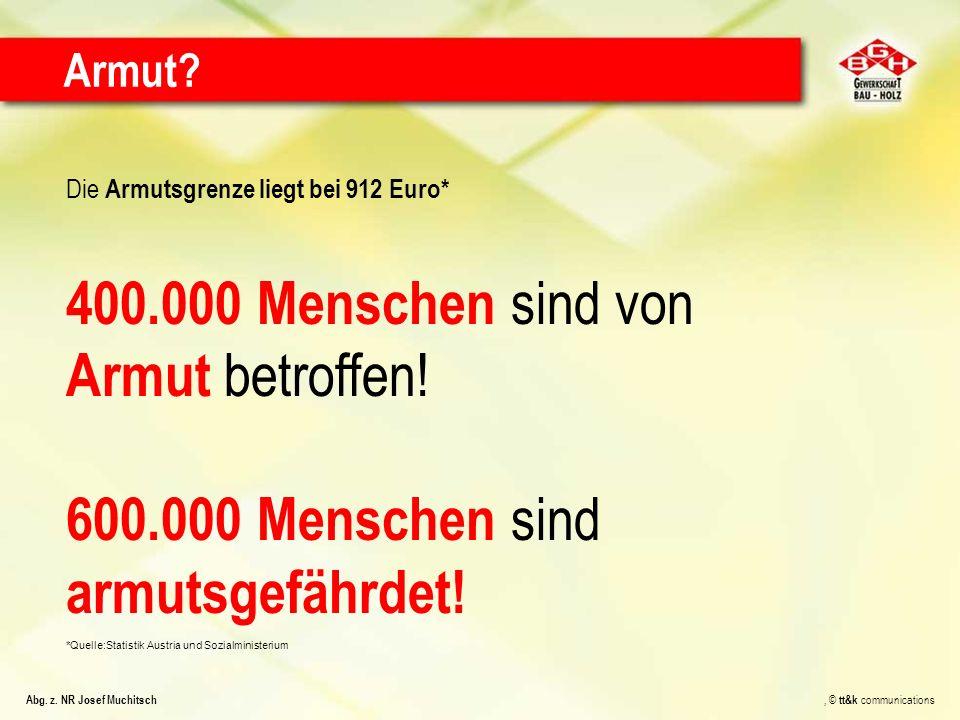 Die Armutsgrenze liegt bei 912 Euro* 400.000 Menschen sind von Armut betroffen! 600.000 Menschen sind armutsgefährdet! *Quelle:Statistik Austria und S