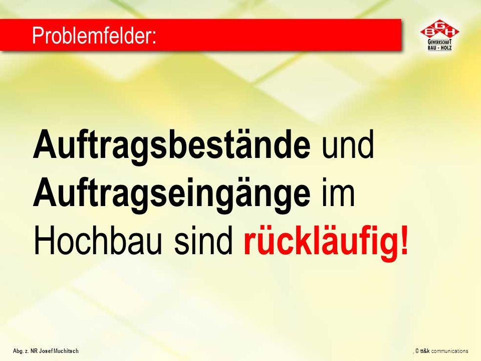 Auftragsbestände und Auftragseingänge im Hochbau sind rückläufig! Problemfelder: Abg. z. NR Josef Muchitsch, © tt&k communications