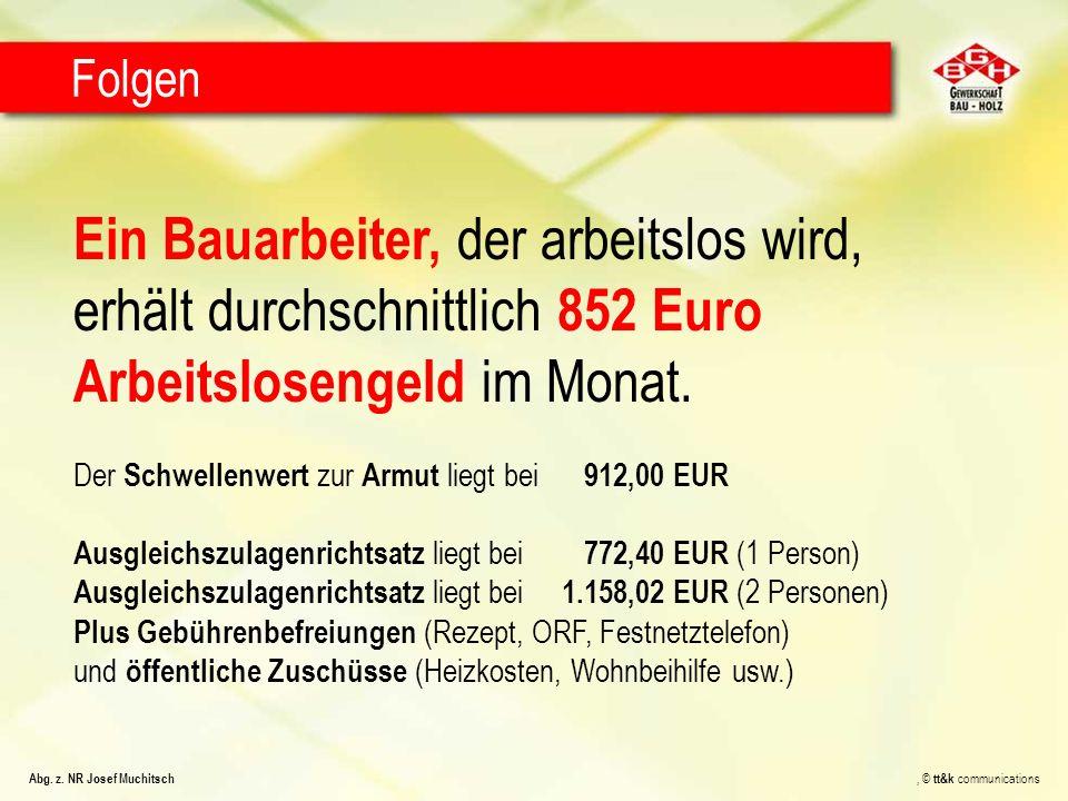 Ein Bauarbeiter, der arbeitslos wird, erhält durchschnittlich 852 Euro Arbeitslosengeld im Monat. Der Schwellenwert zur Armut liegt bei 912,00 EUR Aus
