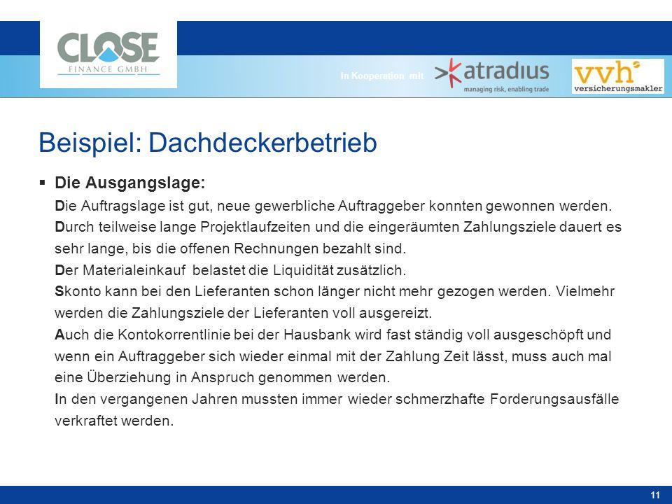 In Kooperation mit 11 Beispiel: Dachdeckerbetrieb Die Ausgangslage: Die Auftragslage ist gut, neue gewerbliche Auftraggeber konnten gewonnen werden.