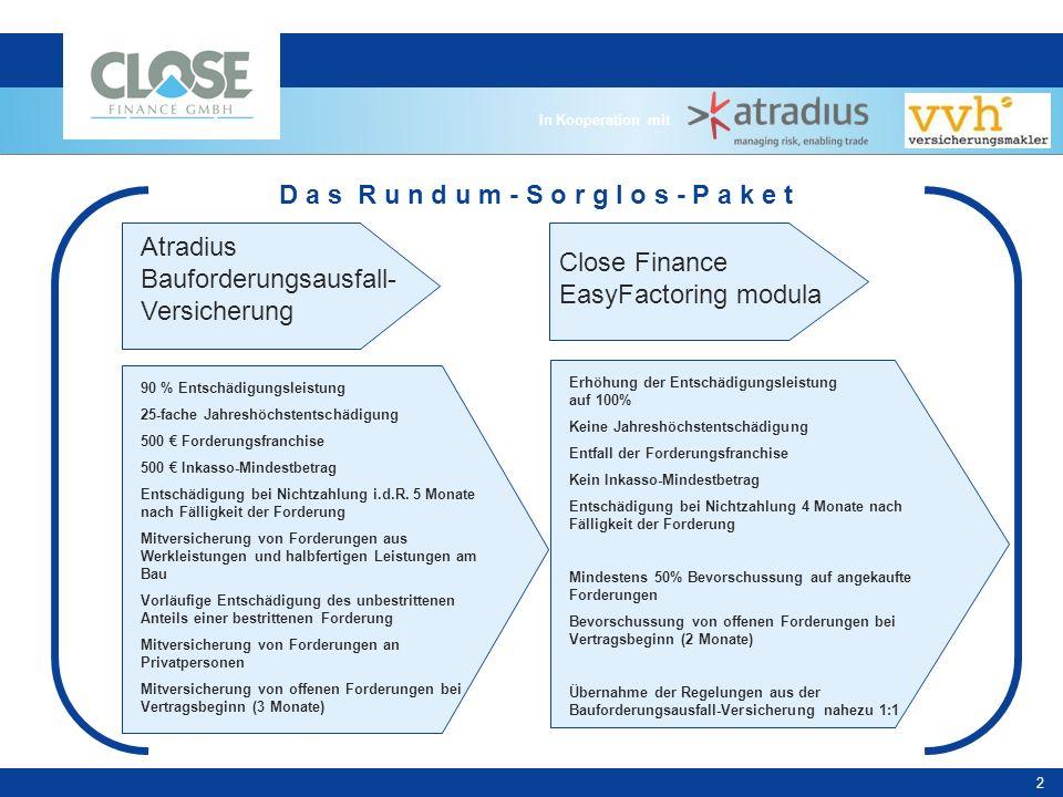 In Kooperation mit 3 Factoring für Bau & Handwerk Sofortige Finanzierung der offenen Forderungen.