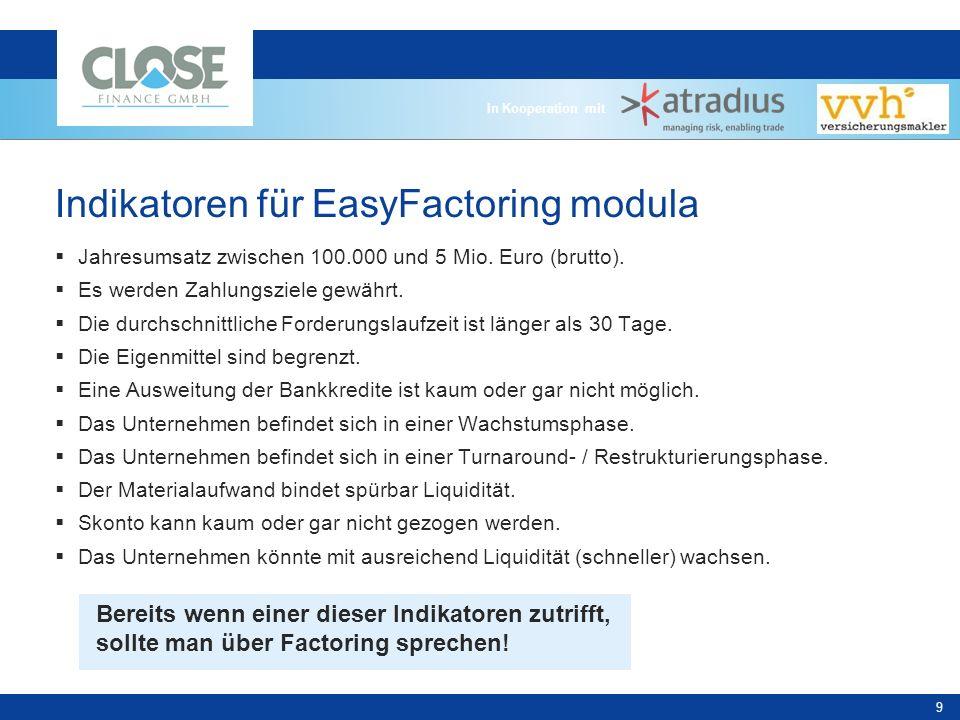 In Kooperation mit 9 Indikatoren für EasyFactoring modula Jahresumsatz zwischen 100.000 und 5 Mio.
