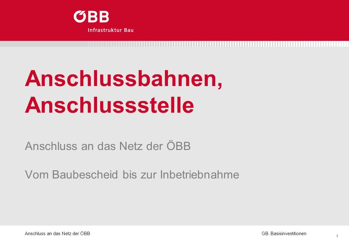 Anschluss an das Netz der ÖBB 1 GB. Basisinvestitionen Anschlussbahnen, Anschlussstelle Anschluss an das Netz der ÖBB Vom Baubescheid bis zur Inbetrie