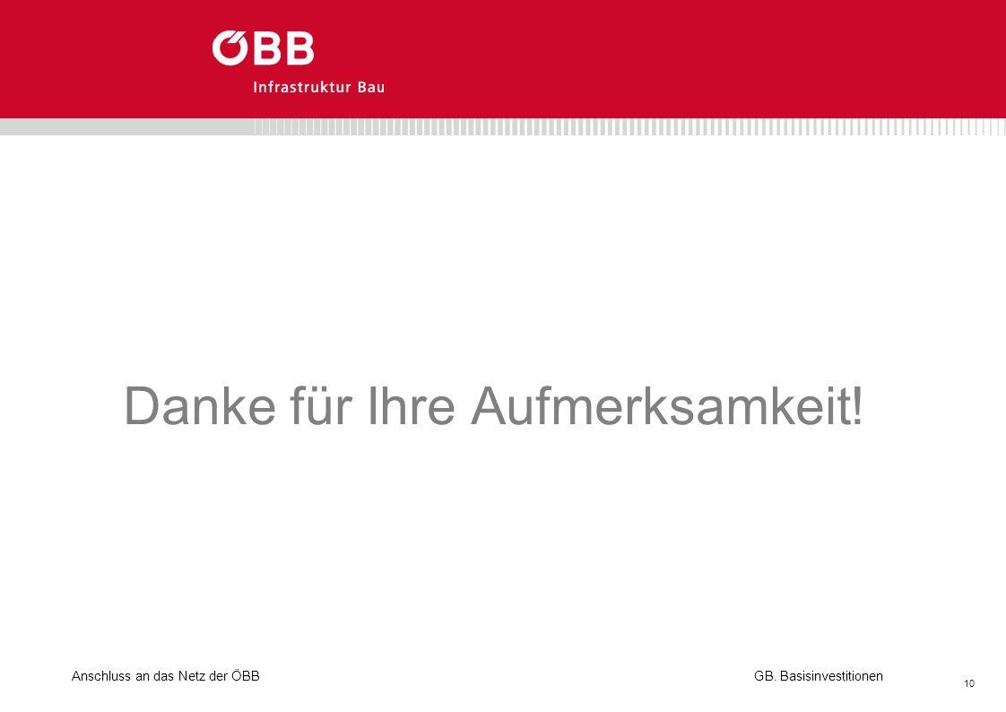 Anschluss an das Netz der ÖBB 10 GB. Basisinvestitionen Danke für Ihre Aufmerksamkeit!