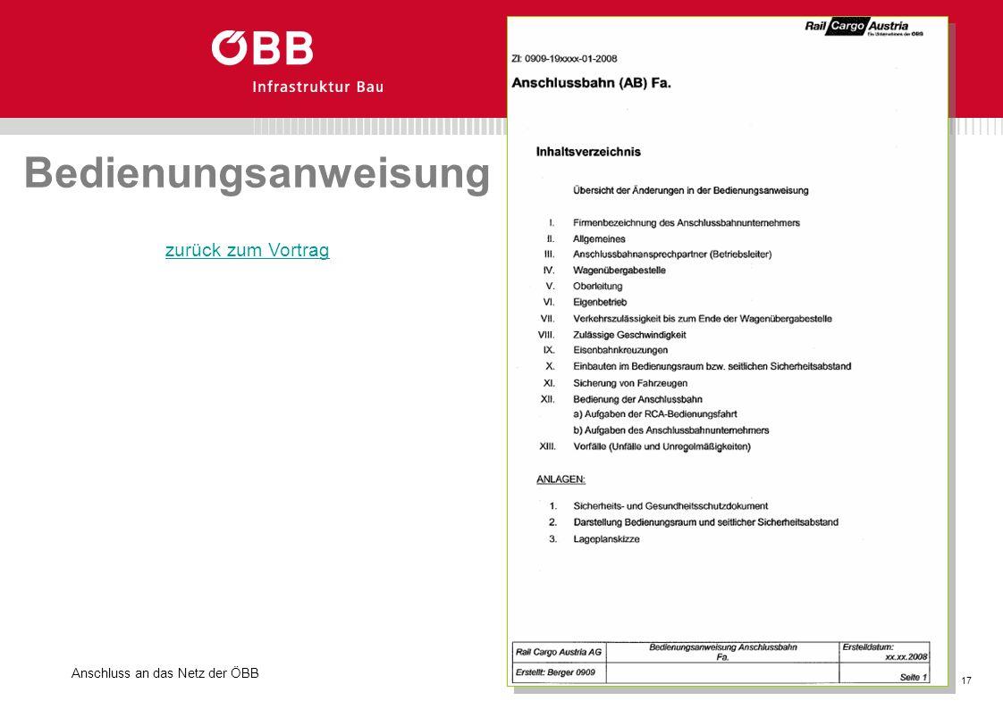 Anschluss an das Netz der ÖBB 17 GB. Basisinvestitionen Bedienungsanweisung zurück zum Vortrag