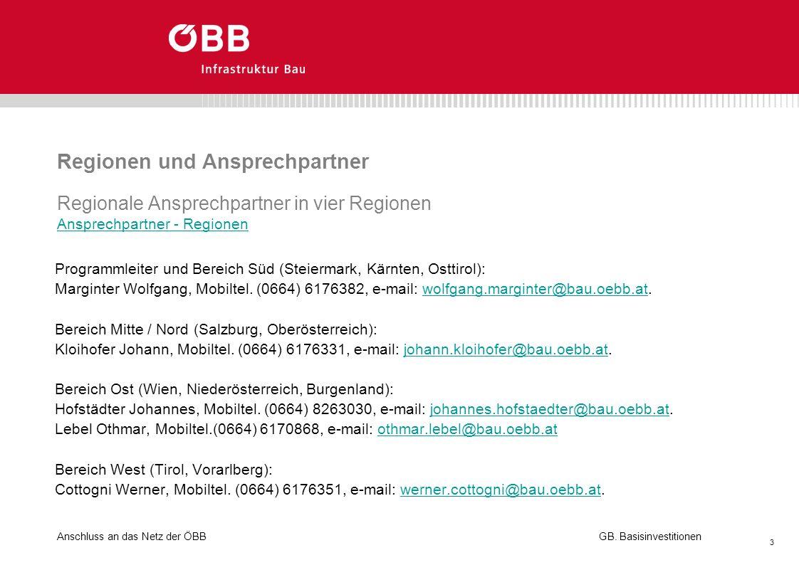 Anschluss an das Netz der ÖBB 3 GB. Basisinvestitionen Regionen und Ansprechpartner Regionale Ansprechpartner in vier Regionen Ansprechpartner - Regio