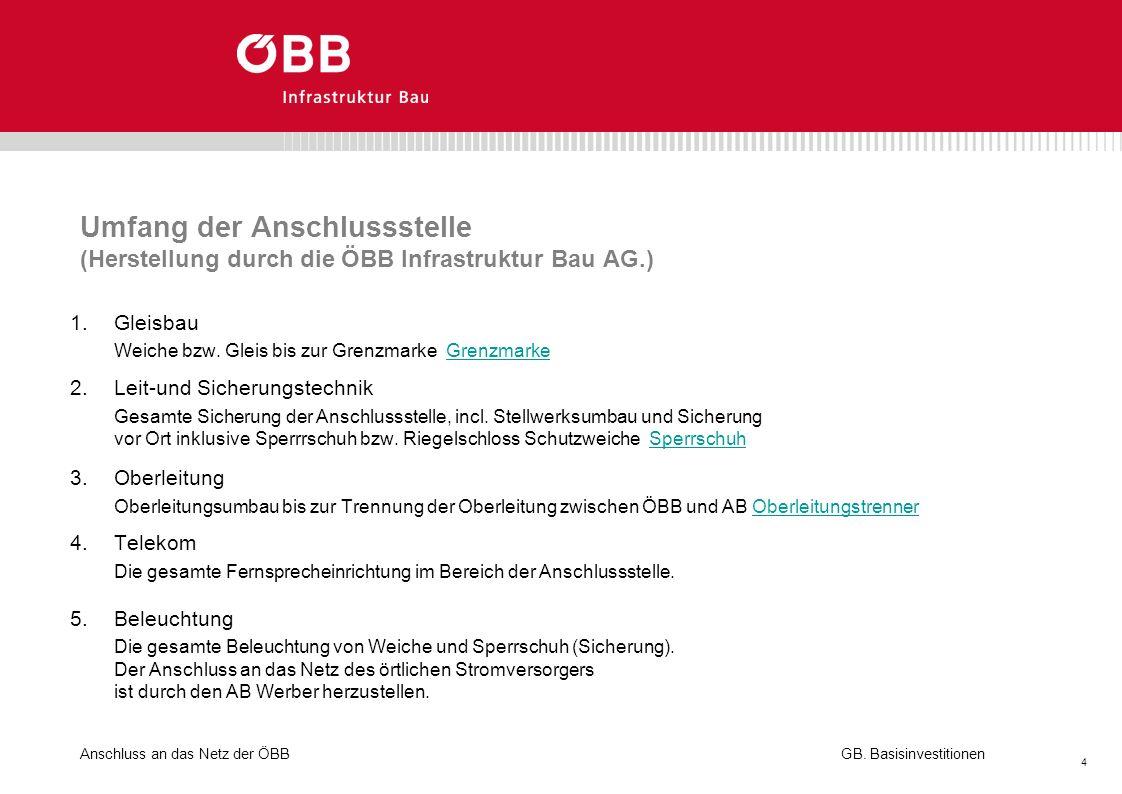Anschluss an das Netz der ÖBB 4 GB. Basisinvestitionen Umfang der Anschlussstelle (Herstellung durch die ÖBB Infrastruktur Bau AG.) 1.Gleisbau Weiche