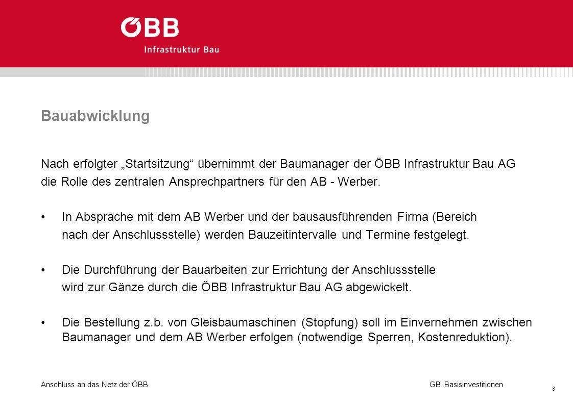 Anschluss an das Netz der ÖBB 8 GB. Basisinvestitionen Bauabwicklung Nach erfolgter Startsitzung übernimmt der Baumanager der ÖBB Infrastruktur Bau AG