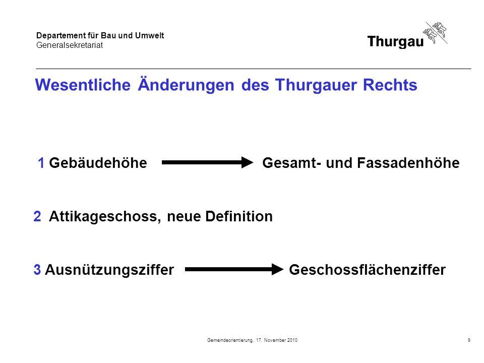Departement für Bau und Umwelt Generalsekretariat Gemeindeorientierung, 17. November 20109 Wesentliche Änderungen des Thurgauer Rechts 1 Gebäudehöhe G
