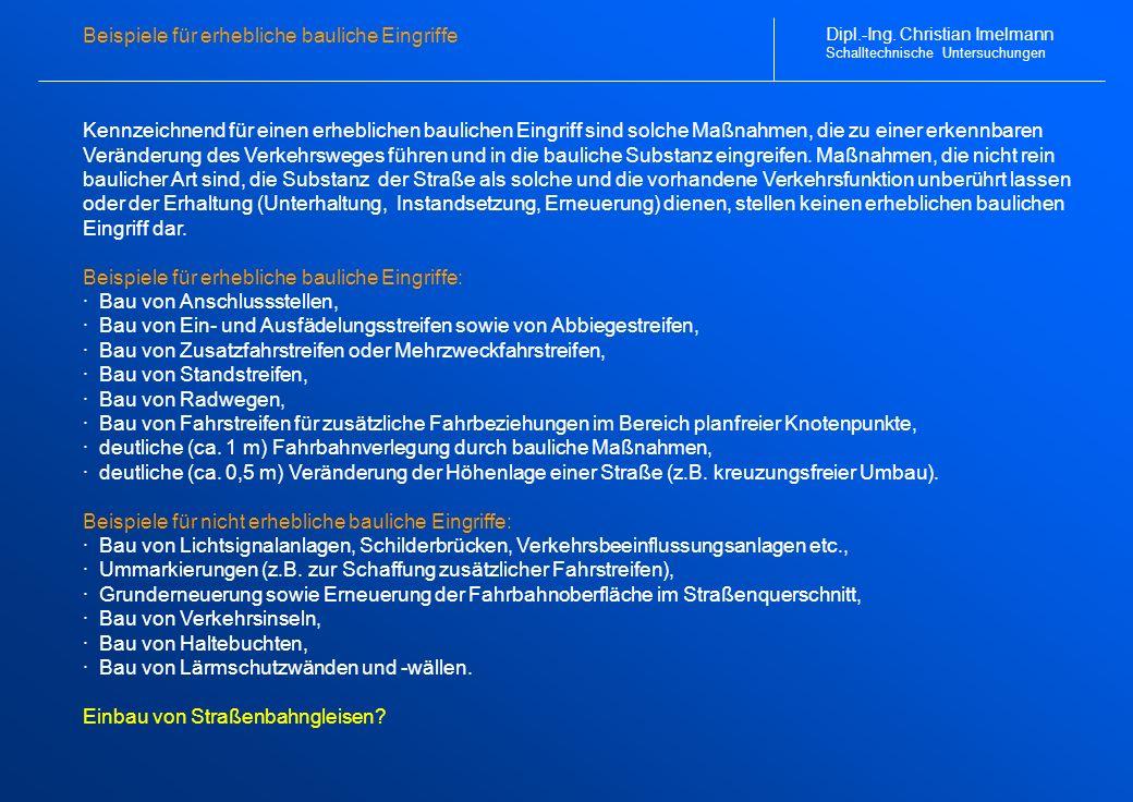 Schalltechnischer Lageplan (1 von 2) Dipl.-Ing. Christian Imelmann Schalltechnische Untersuchungen