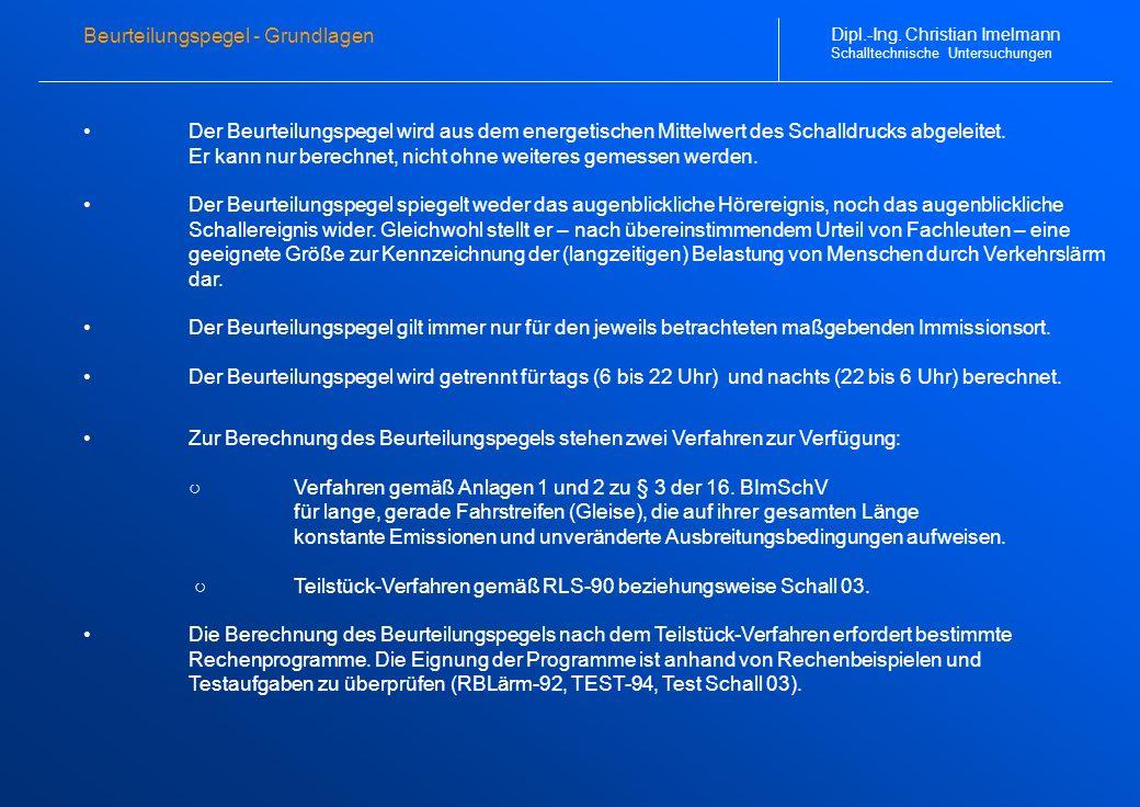 Schallimmissionsraster (1 von 4) Dipl.-Ing. Christian Imelmann Schalltechnische Untersuchungen