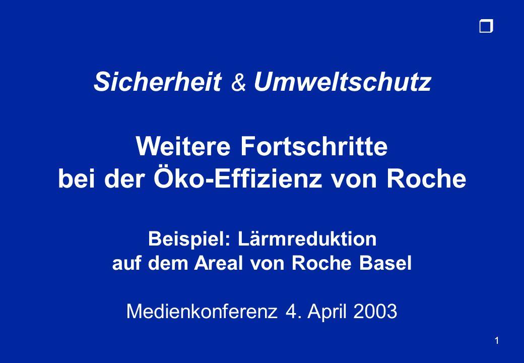 r 1 Sicherheit & Umweltschutz Weitere Fortschritte bei der Öko-Effizienz von Roche Beispiel: Lärmreduktion auf dem Areal von Roche Basel Medienkonfere