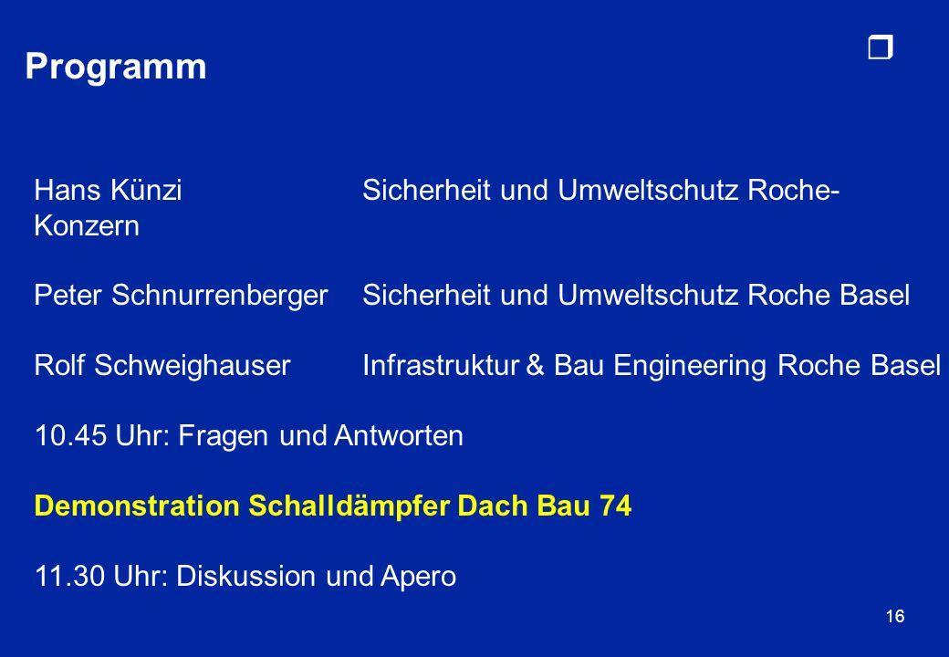 r 16 Programm Hans KünziSicherheit und Umweltschutz Roche- Konzern Peter SchnurrenbergerSicherheit und Umweltschutz Roche Basel Rolf SchweighauserInfr