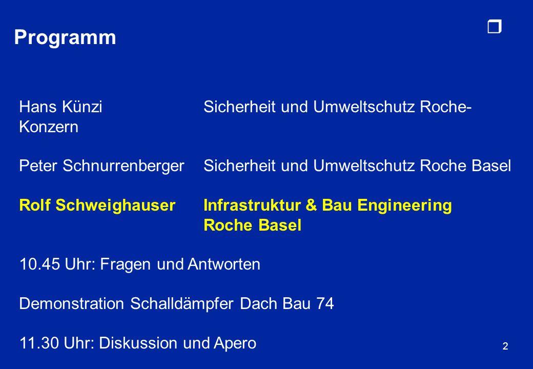 r 3 Lärmreduktion bei Roche Basel Lärm = störender Schall / Geräusche Individuelle Empfindung, was als Lärm (= störend) empfunden wird Messbar: –Schalldruck Schalldruckpegel in Dezibel dB –Angepasst an die Empfindlichkeit des menschlichen Ohrs Dezibel A- bewertet dB(A) Beispiele: –Wohnquartier ohne Verkehr~40 dB(A) –Gespräch~60 dB(A) –Autobahn~80 - 90 dB(A)