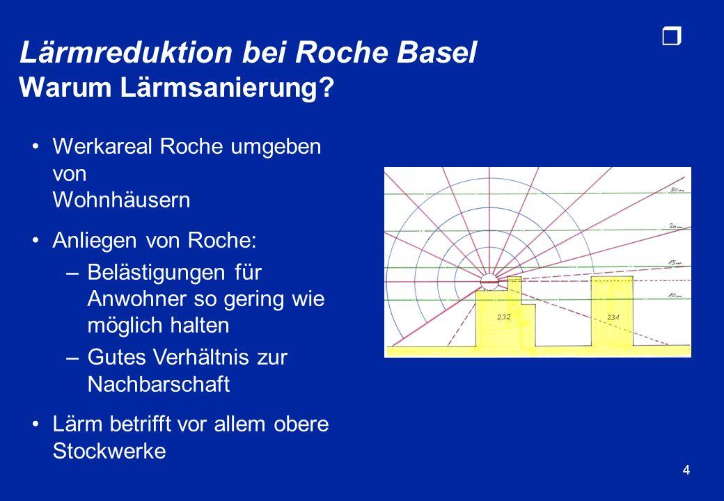 r 4 Werkareal Roche umgeben von Wohnhäusern Anliegen von Roche: –Belästigungen für Anwohner so gering wie möglich halten –Gutes Verhältnis zur Nachbar