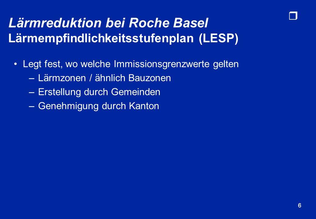 r 6 Lärmreduktion bei Roche Basel Lärmempfindlichkeitsstufenplan (LESP) Legt fest, wo welche Immissionsgrenzwerte gelten –Lärmzonen / ähnlich Bauzonen