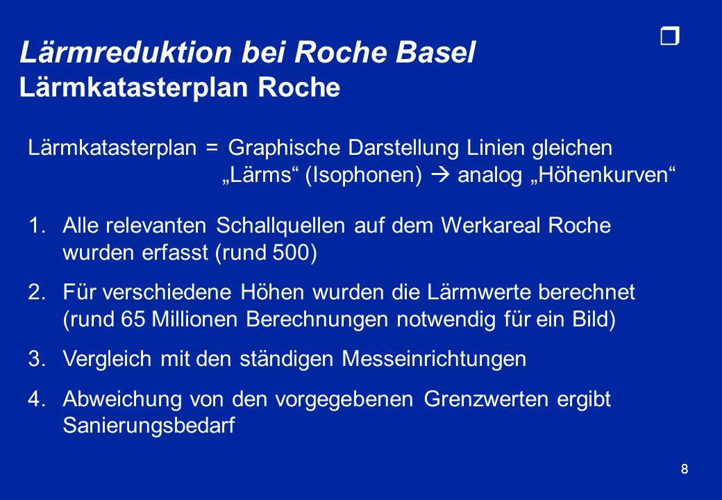 r 9 dB(A) Lärmreduktion bei Roche Basel Lärmkatasterplan vor...