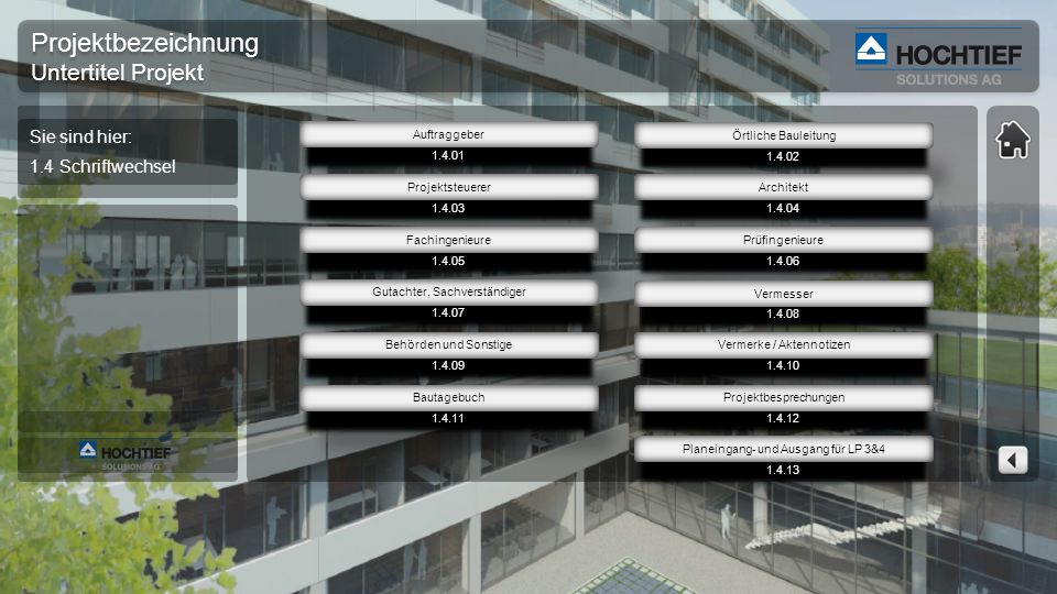 Projektbezeichnung Untertitel Projekt Projektbezeichnung Untertitel Projekt 2.3.02 Architektur 2.3.03 Rohbau 2.3.04 Fassade 2.3.06 TGA-Elektro 2.3.07 TGA-HKLS 2.3.08 Außenanl.