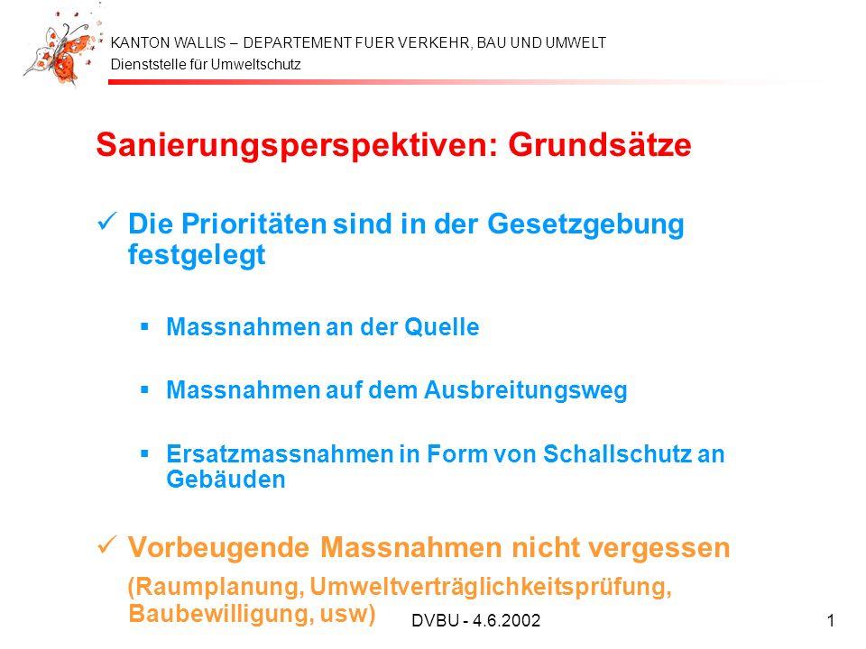 Dienststelle für Umweltschutz KANTON WALLIS – DEPARTEMENT FUER VERKEHR, BAU UND UMWELT DVBU - 4.6.20021 Sanierungsperspektiven: Grundsätze Die Priorit