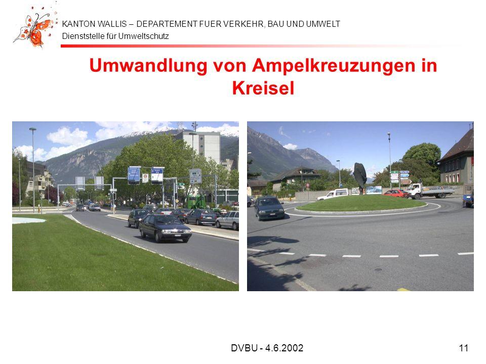 Dienststelle für Umweltschutz KANTON WALLIS – DEPARTEMENT FUER VERKEHR, BAU UND UMWELT DVBU - 4.6.200211 Umwandlung von Ampelkreuzungen in Kreisel