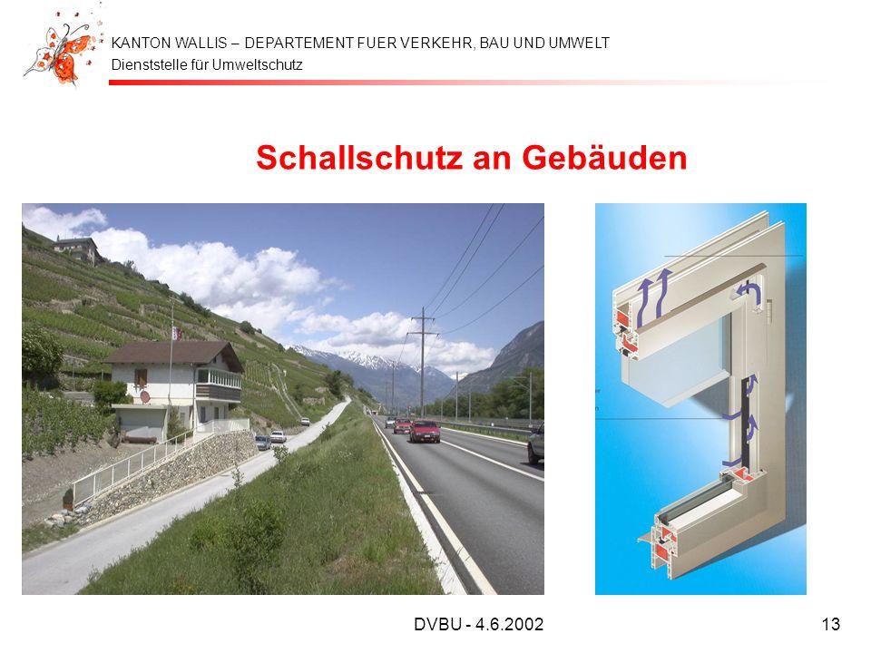 Dienststelle für Umweltschutz KANTON WALLIS – DEPARTEMENT FUER VERKEHR, BAU UND UMWELT DVBU - 4.6.200213 Schallschutz an Gebäuden