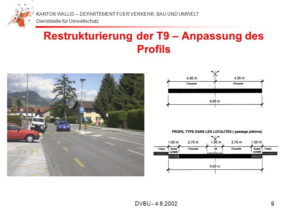 Dienststelle für Umweltschutz KANTON WALLIS – DEPARTEMENT FUER VERKEHR, BAU UND UMWELT DVBU - 4.6.20029 Restrukturierung der T9 – Anpassung des Profil