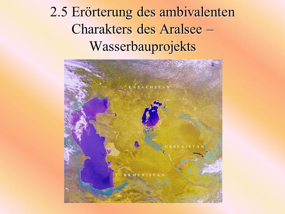 -Aktuelle Projekte verschiedener Hilfsorganisationen: - Versuchsprojekt der GTZ, bei dem ausgetrockneter Boden des Aralsees mit salzresistentem Schilf