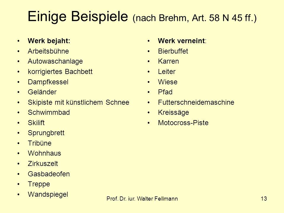 Prof. Dr. iur. Walter Fellmann13 Einige Beispiele (nach Brehm, Art. 58 N 45 ff.) Werk bejaht: Arbeitsbühne Autowaschanlage korrigiertes Bachbett Dampf