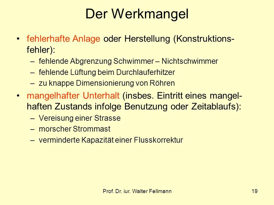 Prof. Dr. iur. Walter Fellmann19 Der Werkmangel fehlerhafte Anlage oder Herstellung (Konstruktions- fehler): –fehlende Abgrenzung Schwimmer – Nichtsch