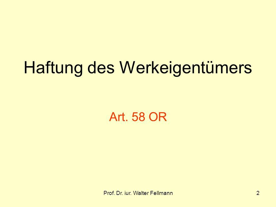Prof. Dr. iur. Walter Fellmann2 Haftung des Werkeigentümers Art. 58 OR