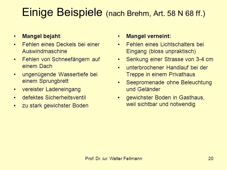 Prof. Dr. iur. Walter Fellmann20 Einige Beispiele (nach Brehm, Art. 58 N 68 ff.) Mangel bejaht: Fehlen eines Deckels bei einer Auswindmaschine Fehlen
