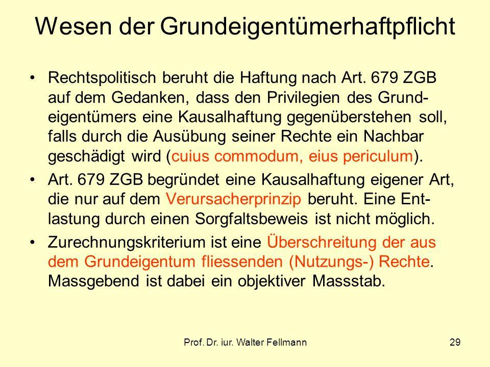 Prof. Dr. iur. Walter Fellmann29 Wesen der Grundeigentümerhaftpflicht Rechtspolitisch beruht die Haftung nach Art. 679 ZGB auf dem Gedanken, dass den