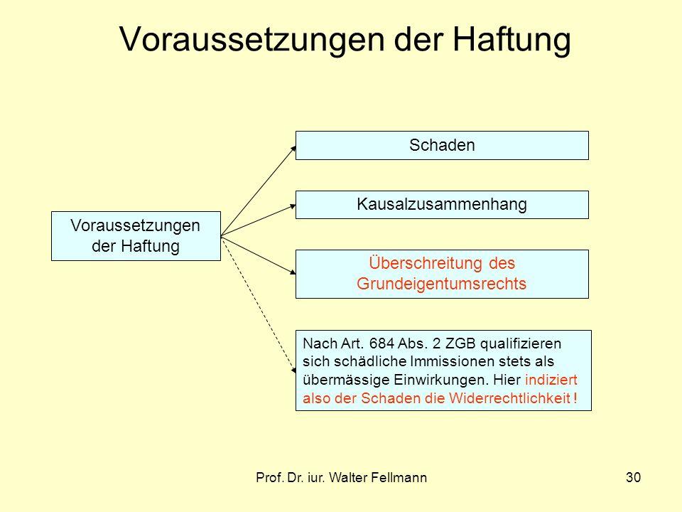 Prof. Dr. iur. Walter Fellmann30 Voraussetzungen der Haftung Schaden Kausalzusammenhang Überschreitung des Grundeigentumsrechts Nach Art. 684 Abs. 2 Z