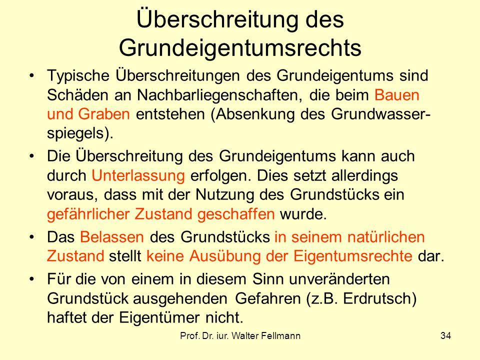 Prof. Dr. iur. Walter Fellmann34 Überschreitung des Grundeigentumsrechts Typische Überschreitungen des Grundeigentums sind Schäden an Nachbarliegensch