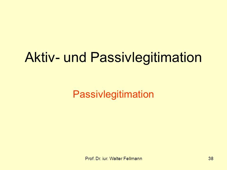Prof. Dr. iur. Walter Fellmann38 Aktiv- und Passivlegitimation Passivlegitimation