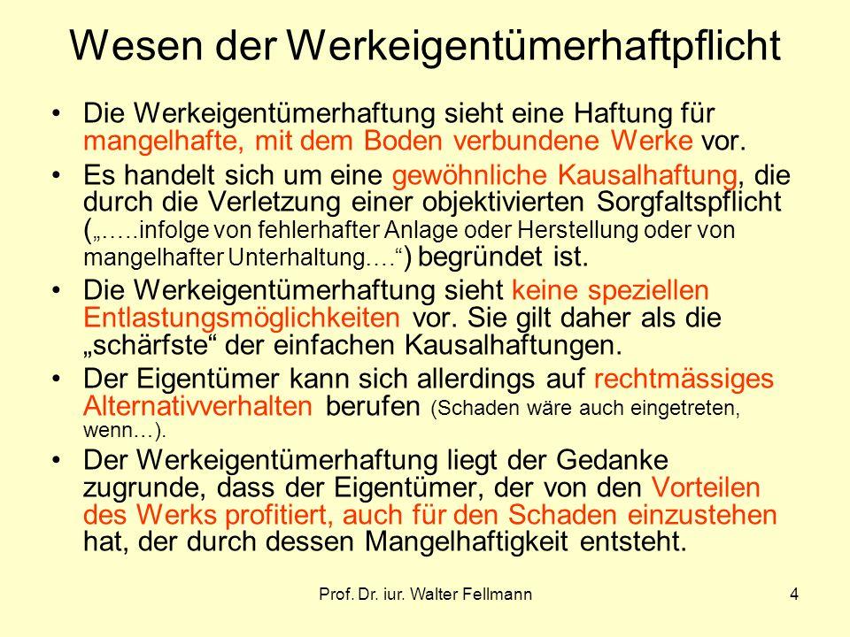 Prof. Dr. iur. Walter Fellmann4 Wesen der Werkeigentümerhaftpflicht Die Werkeigentümerhaftung sieht eine Haftung für mangelhafte, mit dem Boden verbun